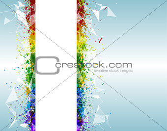 Paint splashes triangular background for poster. Abstract and futuristic with vibrant colors