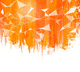 Splashes Orange Background. Creative abstract  with colorful splash, halftone doted ellements and triangular design