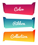 Colorful paper roll long collections design on white background, vector illustration. Color ribbons