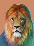 Lion portrait. Low poly design. Vector eps10
