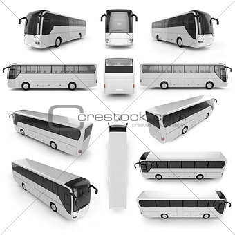 12 perspective view of City bus with blank surface for your crea