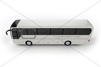 Top View - Bus Mock Up on White Background, 3D Illustration