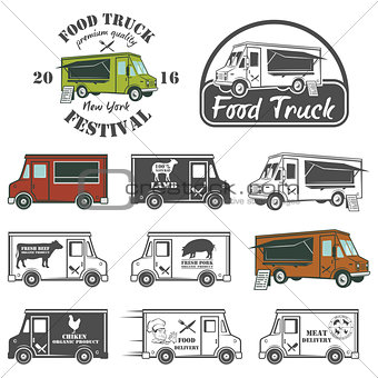Food truck street festival emblems and logos set