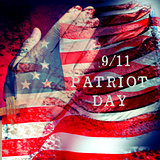 text 9/11 Patriot Day and flag of the United States of America