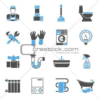 Plumbing Service Icons Sticker Set