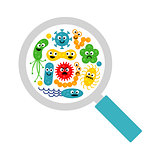 Image of magnifier and cute funny bacterias, germs