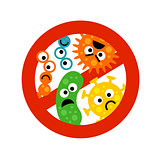 Stop bacterium sign with cute cartoon gems in flat style