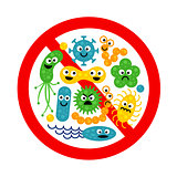 Stop bacterium sign with many cute cartoon gems
