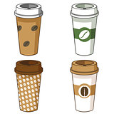 Take away coffee cup illustration set