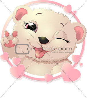 bear surrounded by hearts