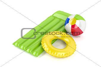 Beach ball, mattress and swim ring