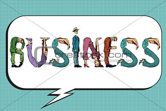 Business word letters people