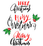 Greeting card with a Christmas holly berries and Merry Christmas message. Set of Christmas lettering