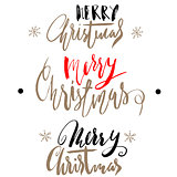 Handwritten Christmas gold and red calligraphy. Set of hand lettering for cards. Merry Christmas.