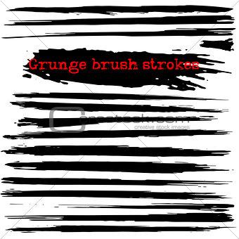 Black ink vector brush strokes. Vector illustration. Grunge texture.