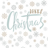 Merry Christmas handwritten lettering design with gold and silver snowflakes on white background. EPS10