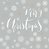 Merry Christmas handwritten lettering design with white snowflakes on gray background. EPS10