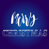 White hand drawn grunge lettering and christmas style font on blue background.