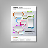 Brochures book or flyer with colorful abstract speak bubbles