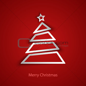 Christmas card with abstract tree template