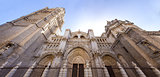 Toledo Cathedral low angle panoramic view, Spain