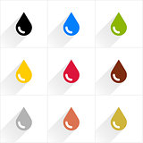Color drop icon in flat style