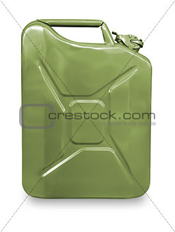 Green metal canister for gasoline