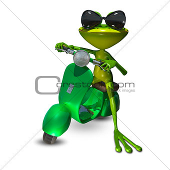 3D Illustration of a frog on a motor scooter