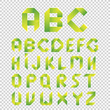 Origami style alphabet, vector letters type set. Green  Eco Font.  Design Symbols