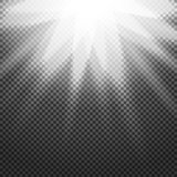Shiny sunburst of sunbeams on the abstract sunshine background and transparency. Vector illustration.