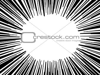Abstract comic book flash explosion radial lines background. Vector illustration for superhero design. Bright black white light strip burst. Cartoon hero fight print stamp