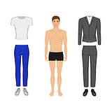 Vector illustration of a man in his underwear
