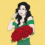 Happy woman holding a rose flower hands