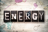 Energy Concept Metal Letterpress Type