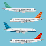 Set of colorful flat airplanes.