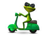 3D Illustration green frog on a motor scooter