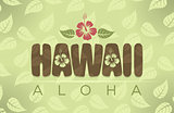 Vector illustration of Hawaii and Aloha words