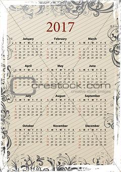 American Vector grungy calendar 2017