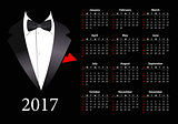 Vector American calendar 2017 with elegant suit