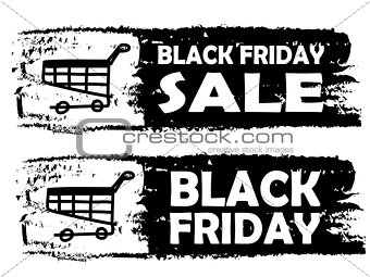 Black friday - drawn banner with cart