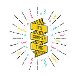 It is summer time. Inspirational vector illustration quotes flat poster