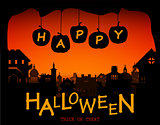 Halloween design pumpkins and houses. Horror background with holiday text.