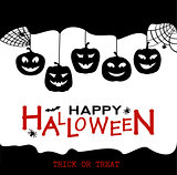 Halloween design pumpkins and houses. Black and white horror background with holiday text.