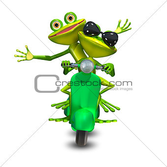 3D Illustration of two frogs on a motor scooter