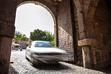Driving by medieval city of Toledo, Spain
