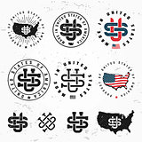Made in USA monogram vector set. Vintage America logo design. Retro United States seal. US label illustration on grunge background. Hipster t-shirt graphic.