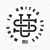 Made in USA monogram vector. Vintage America logo design on grunge background. Retro United States seal. US label illustration. Hipster t-shirt graphic.