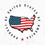 Made in USA monogram vector. Vintage America logo design. Retro United States seal. US label illustration. Hipster t-shirt graphic on grunge background.