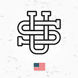 Made in USA monogram vector. Vintage America logo design. Retro United States seal. US label illustration. Hipster t-shirt graphic on grunge background.