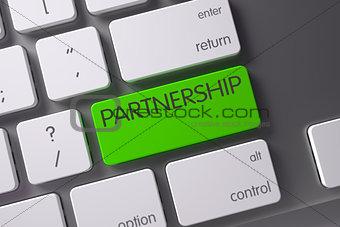 Green Partnership Button on Keyboard. 3D Illustration.